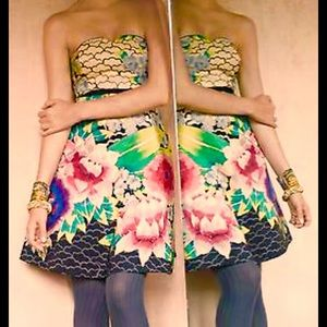 Moulinette Soeurs Painted Lotus Strapless Dress